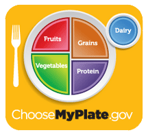 plate diagram with suggested serving sizes of each food group